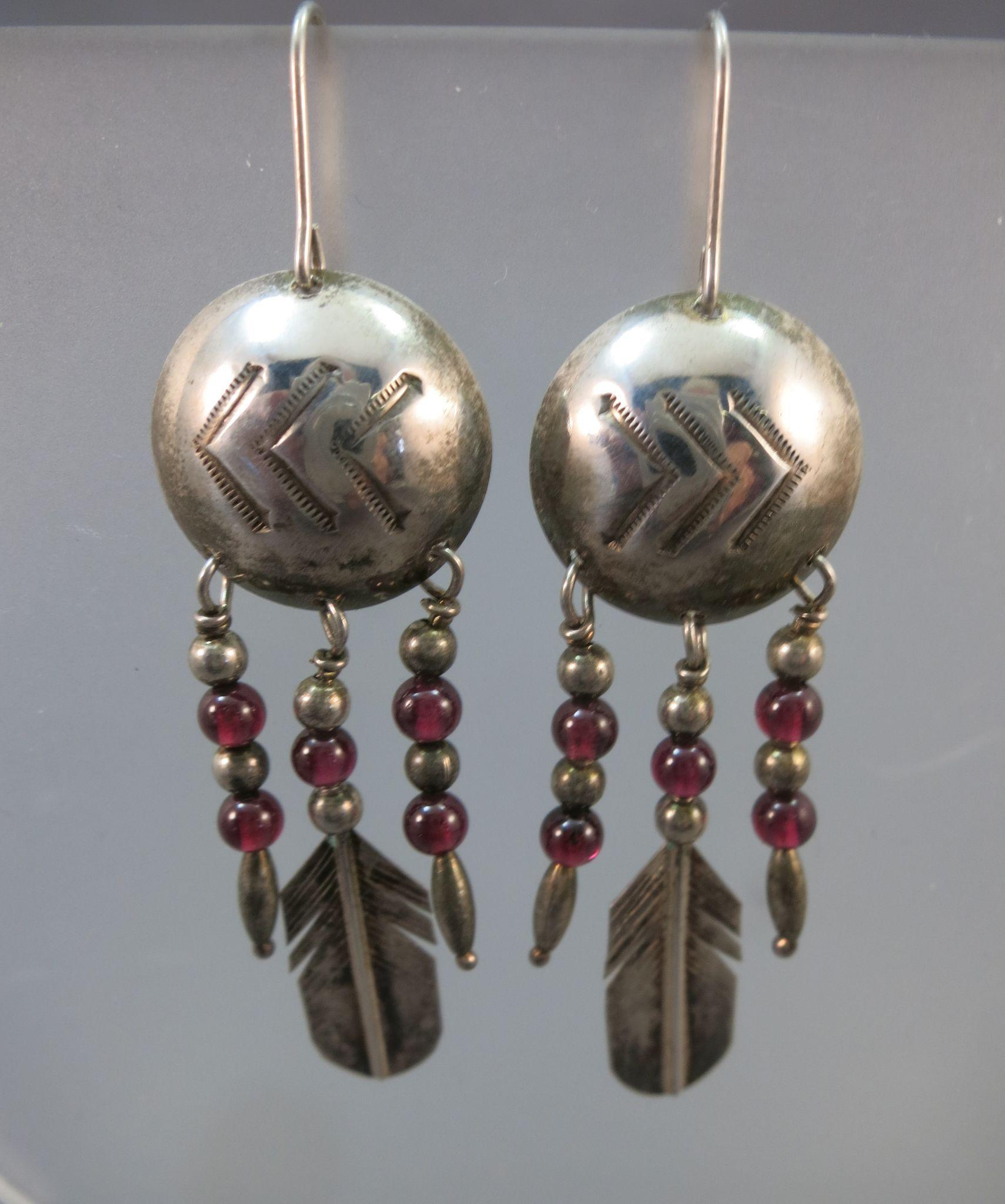 VINTAGE Sterling Indian Style Earrings  Garnet Balls