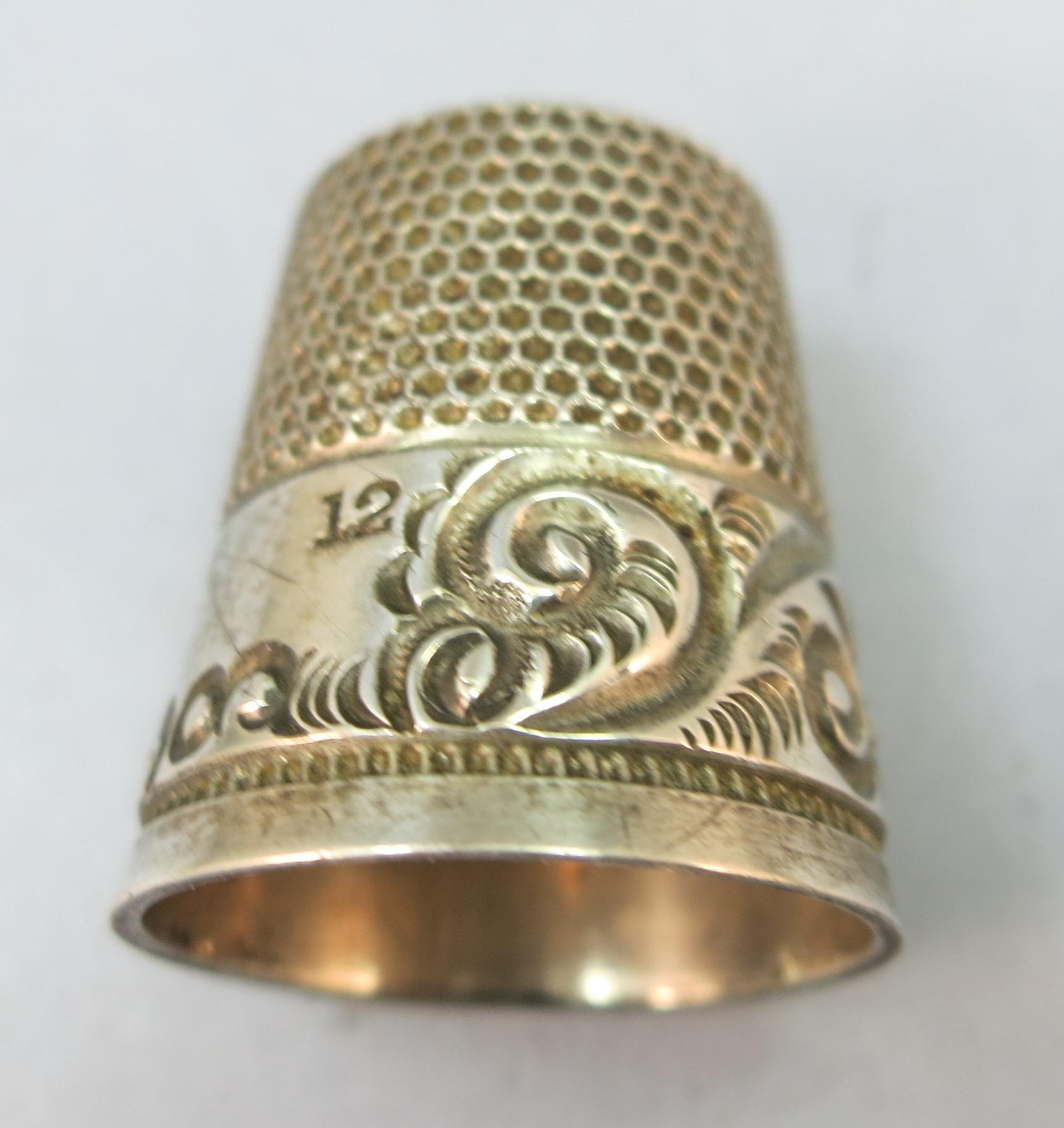 VINTAGE Sterling Thimble Size 12 MYYD