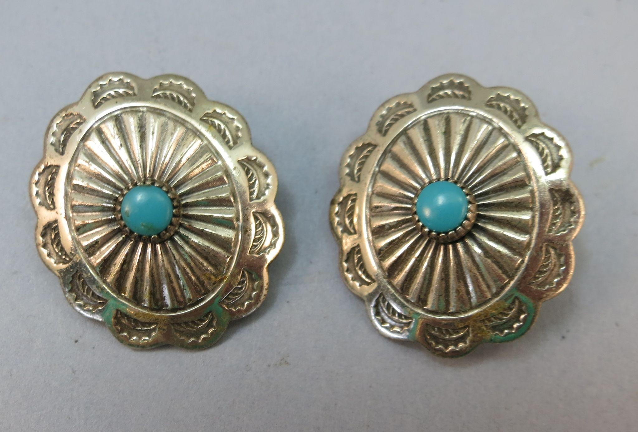 VINTAGE Indian Squash Blossom Clip Earrings Old but not Worn