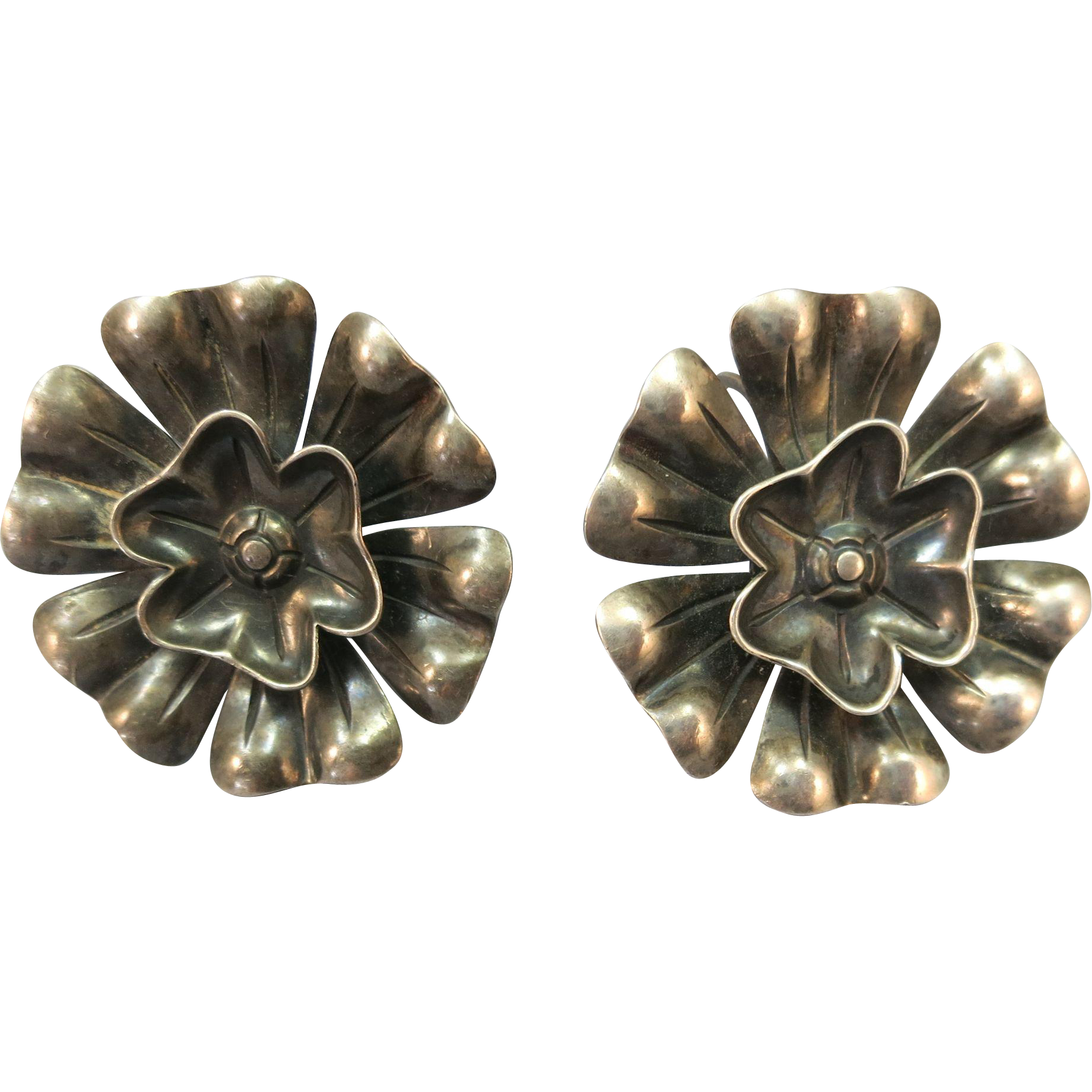 VINTAGE Mexican Sterling 1 Inch Flowers  Screw Earrings
