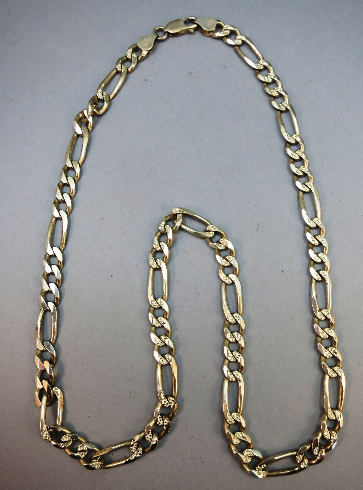 Mans Heavy Figaro 22 Inch Necklace Sterling 925 and made in Italy
