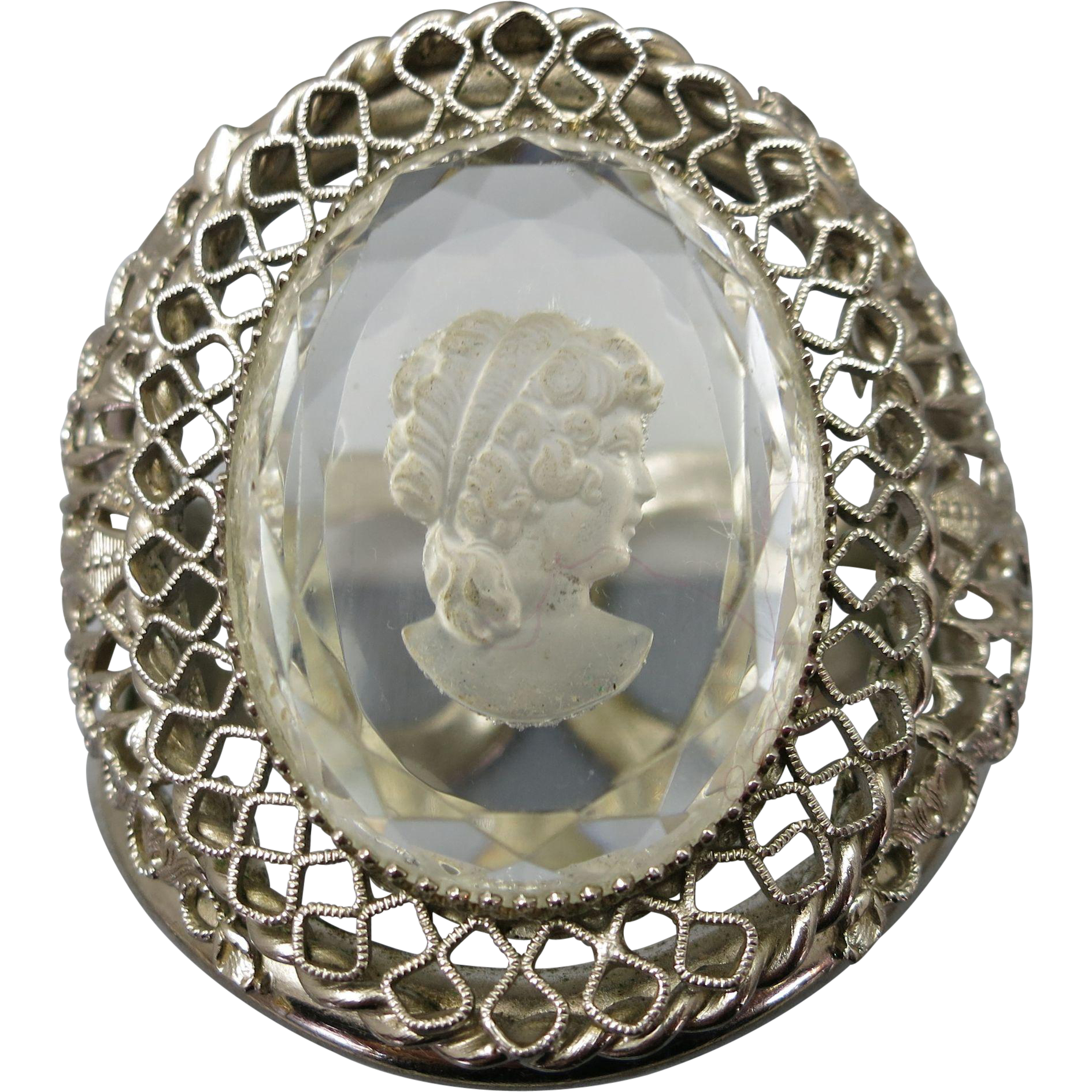 VINTAGE  West German Style Clamper Bracelet Glass Intaglio Cameo