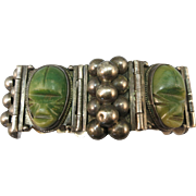 VINTAGE Very Old  Mexican Silver Bracelet Green Onyx 7 1/2 Inch Length
