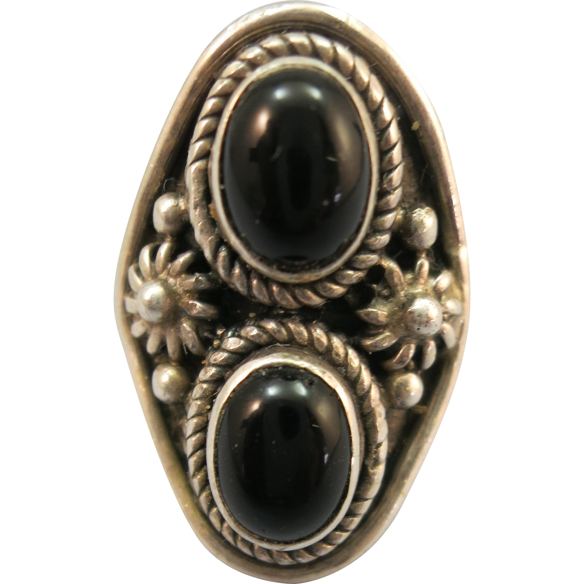VINTAGE Sterling Ring with two Oval Onyx Sets Marked 925  Size Tight 7 1/2