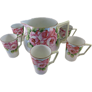 VINTAGE Nippon Lemonade Set 1 Pitcher and 6 Cups  Open Roses