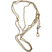 VINTAGE  Ladies Gold-filled Long Watch Chain   44 Inches and Slide with Pearls Seeds and Rubies.