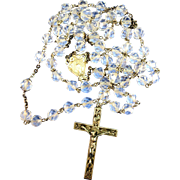 VINTAGE Crystal and Sterling Rosary  60'S