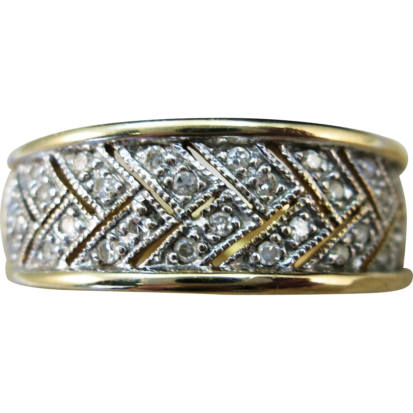 VINTAGE  14K Yellow Gold Diamond Pave  Size 9