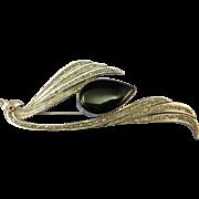 VINTAGE Sterling Marcasite Onyx Bird Brooch  80's