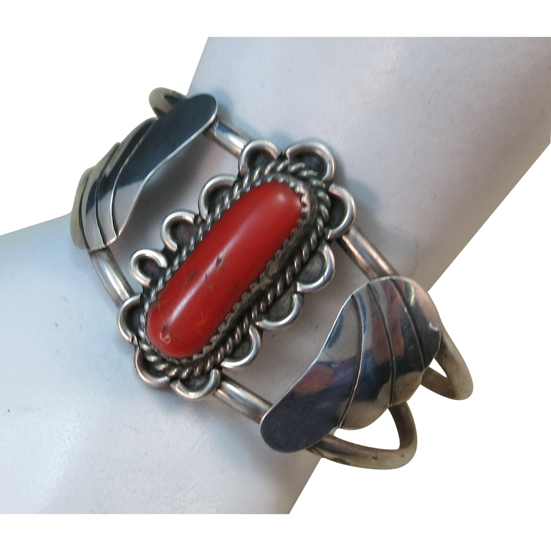 VINTAGE Sterling Bracelet with a Red Coral Branch.