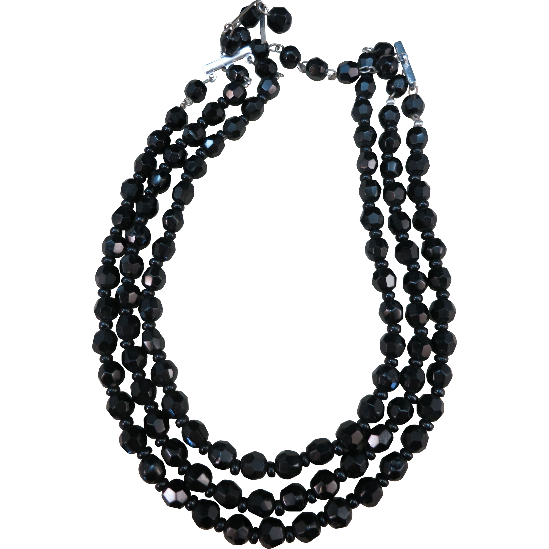 VINTAGE  Black Glass Three Strand Choker Classic!