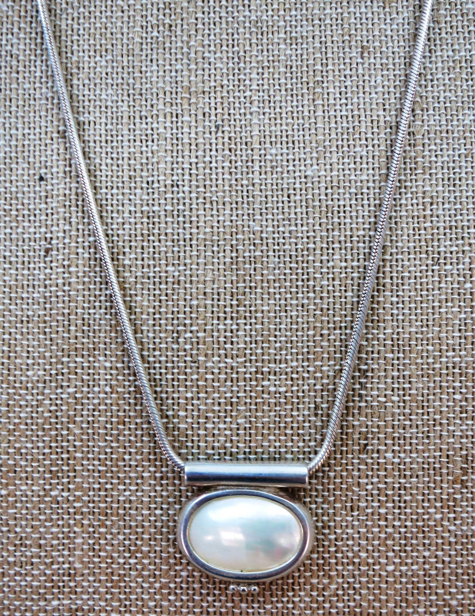 VINTAGE  Extra Long Heavy Snake Chain and Mother of Pearl Pendant  29 Inches Long  Great Chain