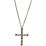VINTAGE Native American Sterling Cross with Special Chain