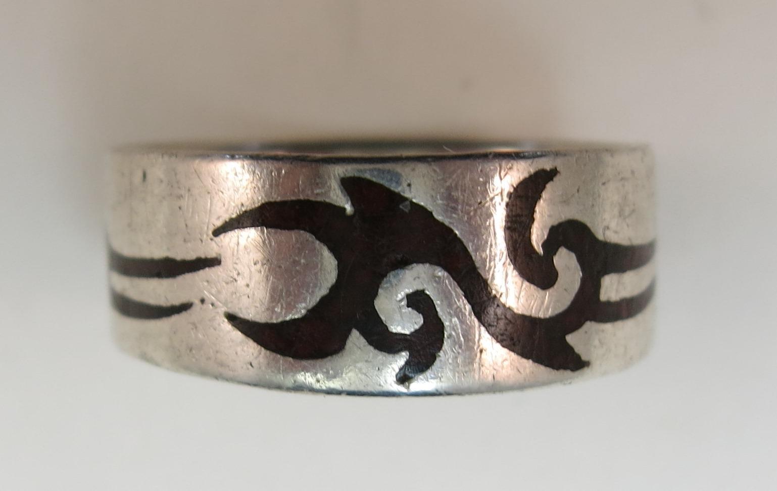 VINTAGE Hopi-like Sterling ring  Silver Overlay