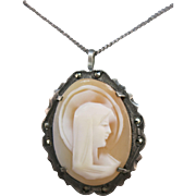 VINTAGE 30'S Handcarved Italian Shell Madonna Cameo Brooch/Necklace  800 Silver/Marcasites  18 Inch Sterling Chain