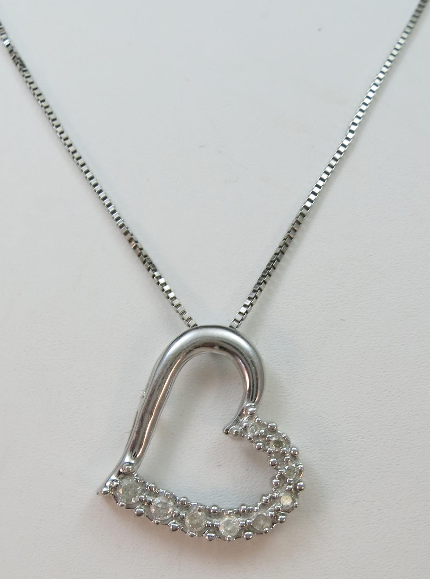 VINTAGE 10k Heart  with 10 Diamonds and an 18 Inch Sterling Chain