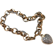 VINTAGE Sterling Bracelet with Gold Overlay and Real Diamond Pave  7 1/2 Inches