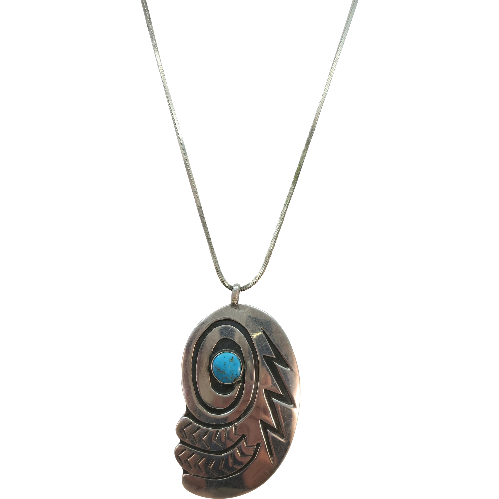 VINTAGE Sterling Chain and Hopi Pendant
