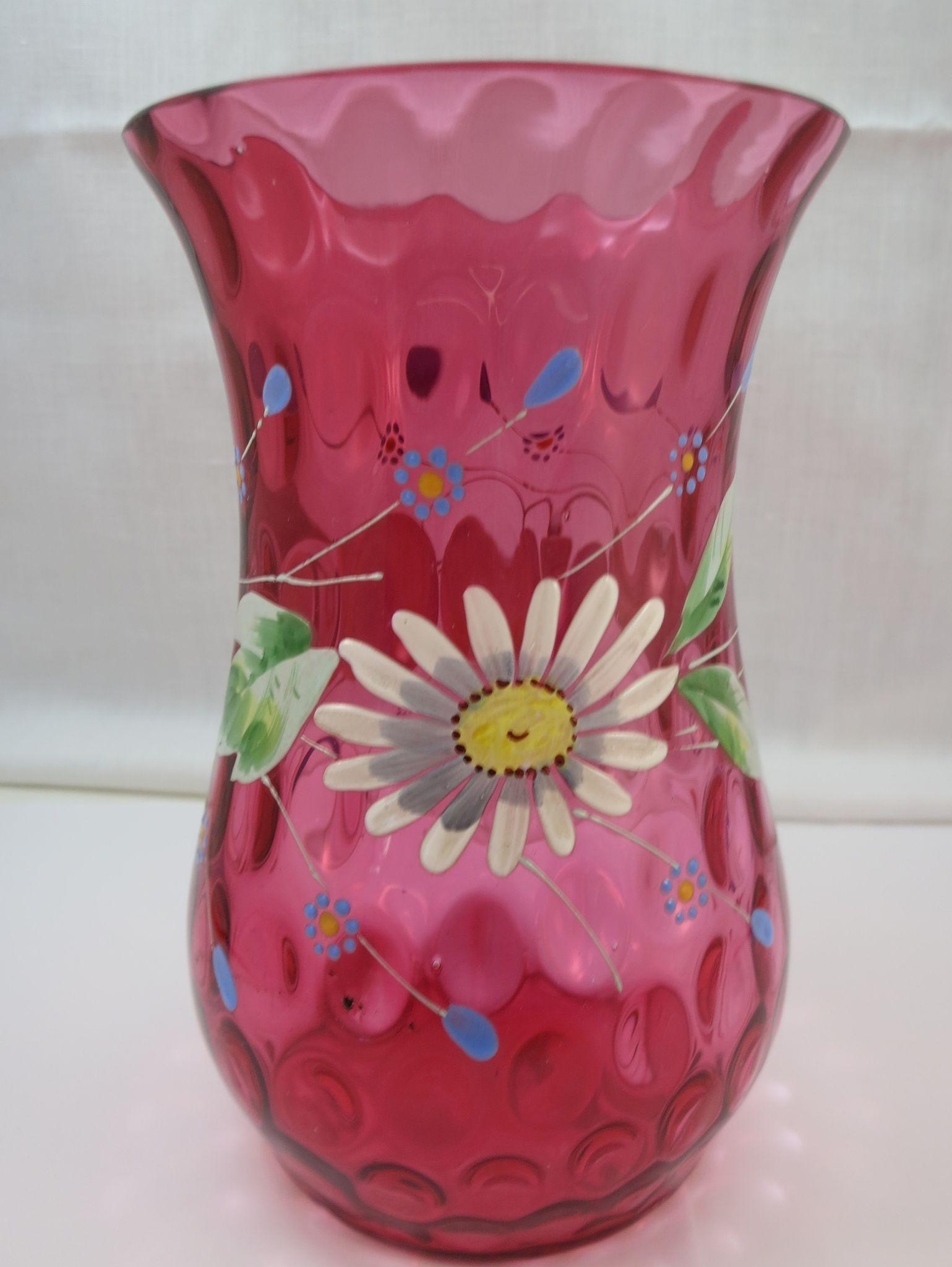 VINTAGE   Enameled Decorated Victorian Quilted Cranberry Glass Vase Pre-1900