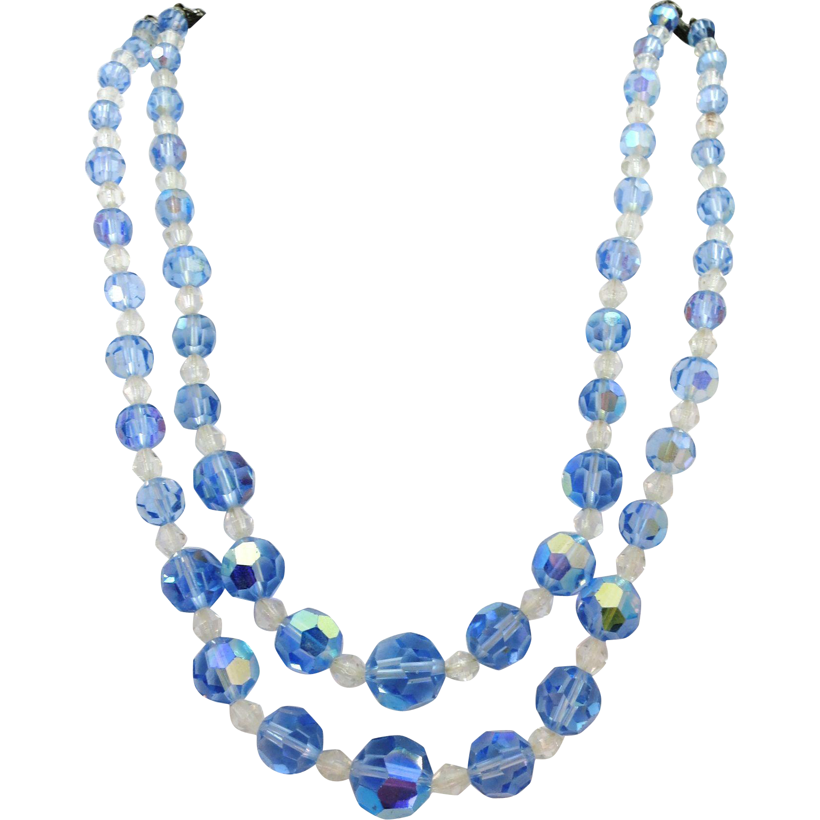 VINTAGE Aurora Borealis  Two Strand Blue Glass Bead Necklace  18 Graduated Inches