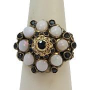 VINTAGE Original Princess Ring 14K 8 Opals 18 Sapphires  Size 5 1/2
