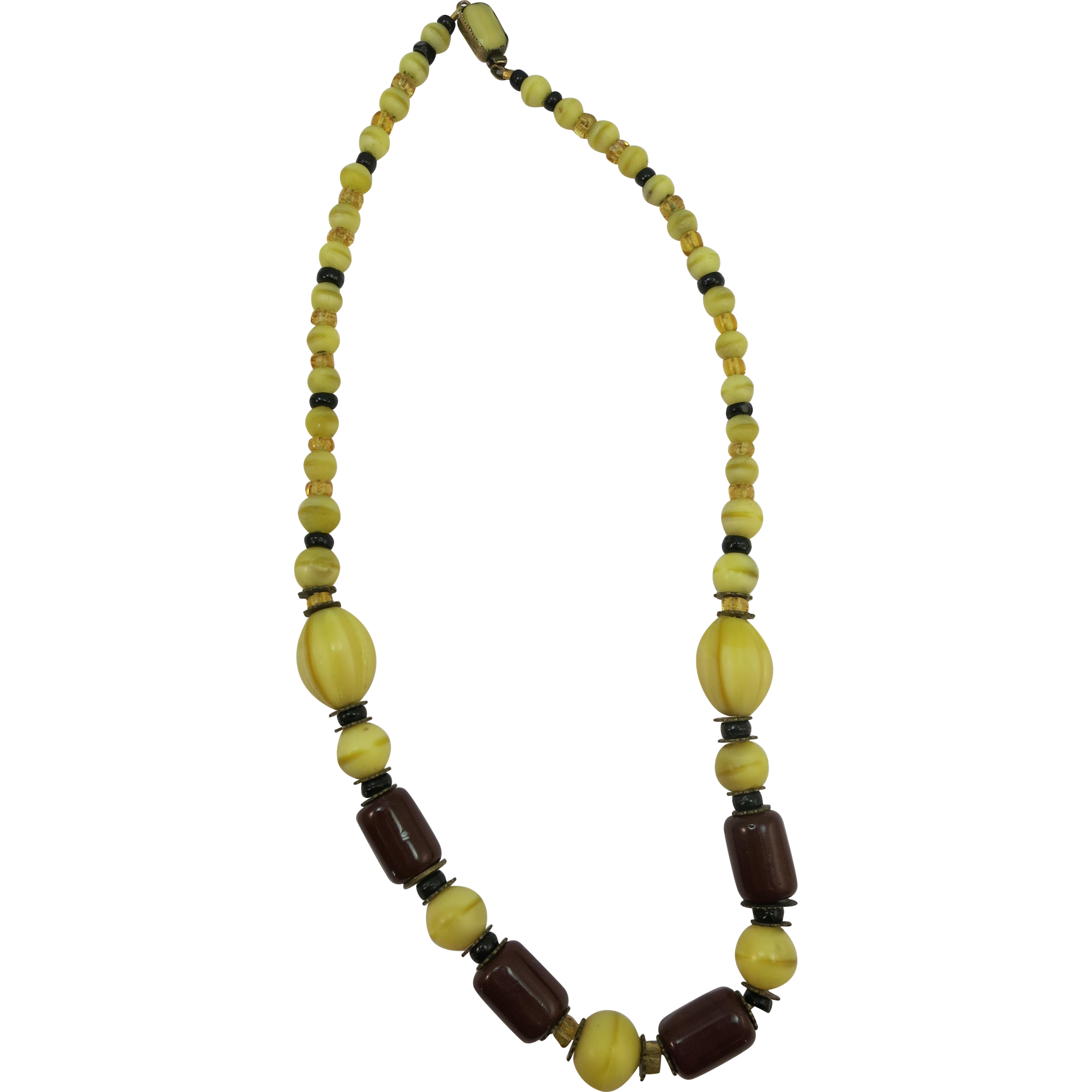 VINTAGE Czechoslovakian Necklace  Great Glass 15 Inches  Great Beads