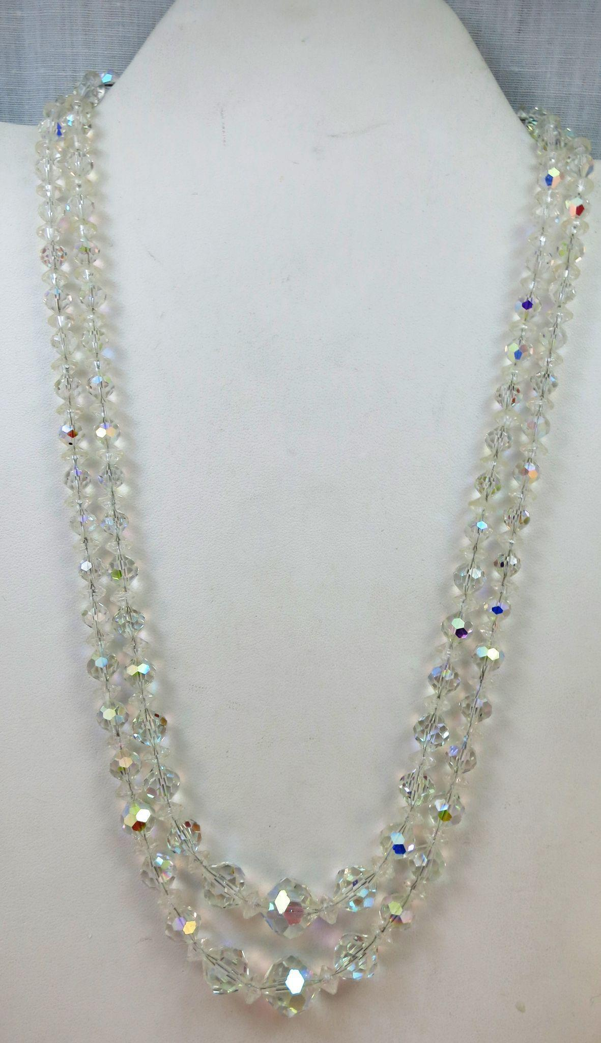 VINTAGE Faceted  Two Strand Crystal Necklace Graduated