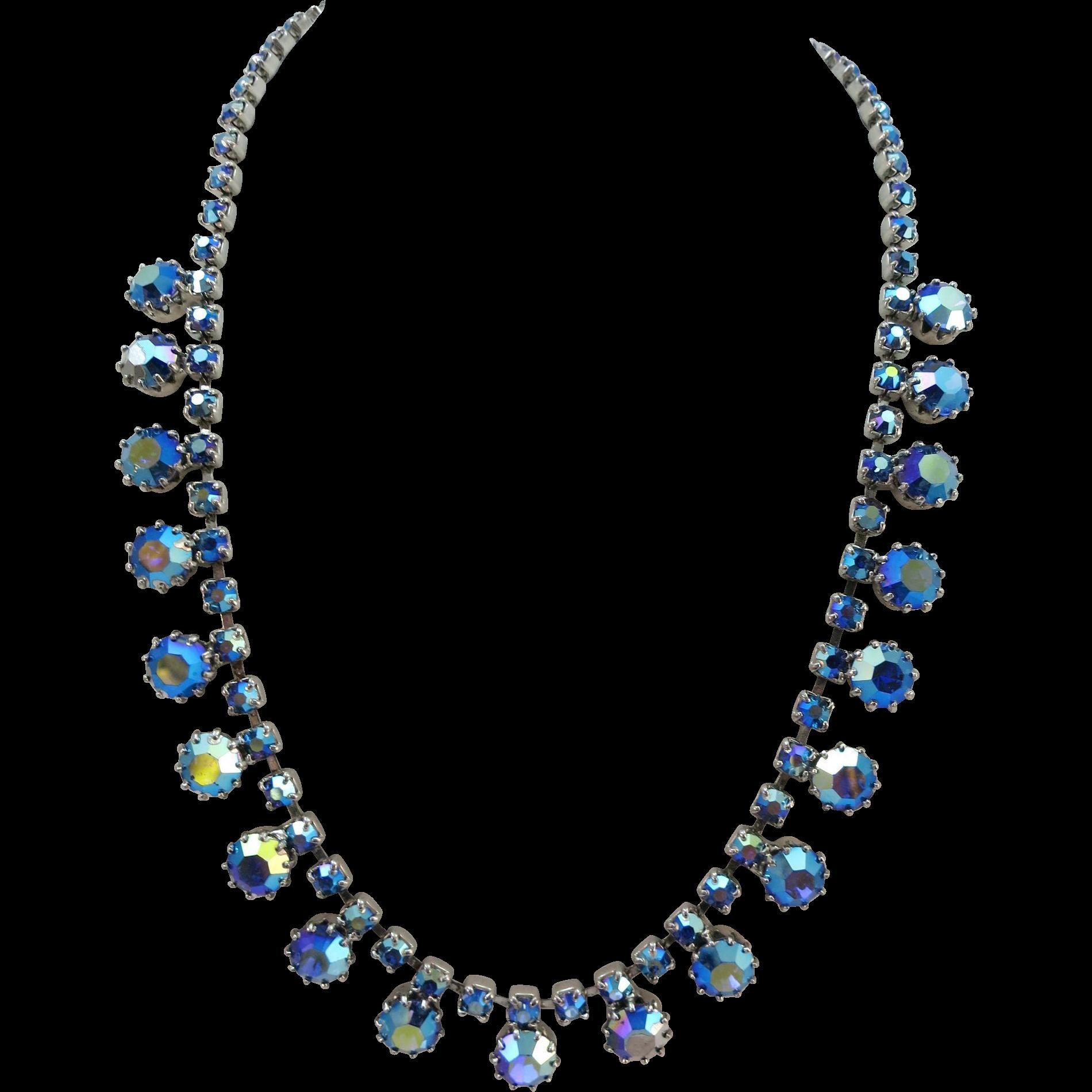 VINTAGE 60'S Rhinestone Necklace Blue Blue Blue
