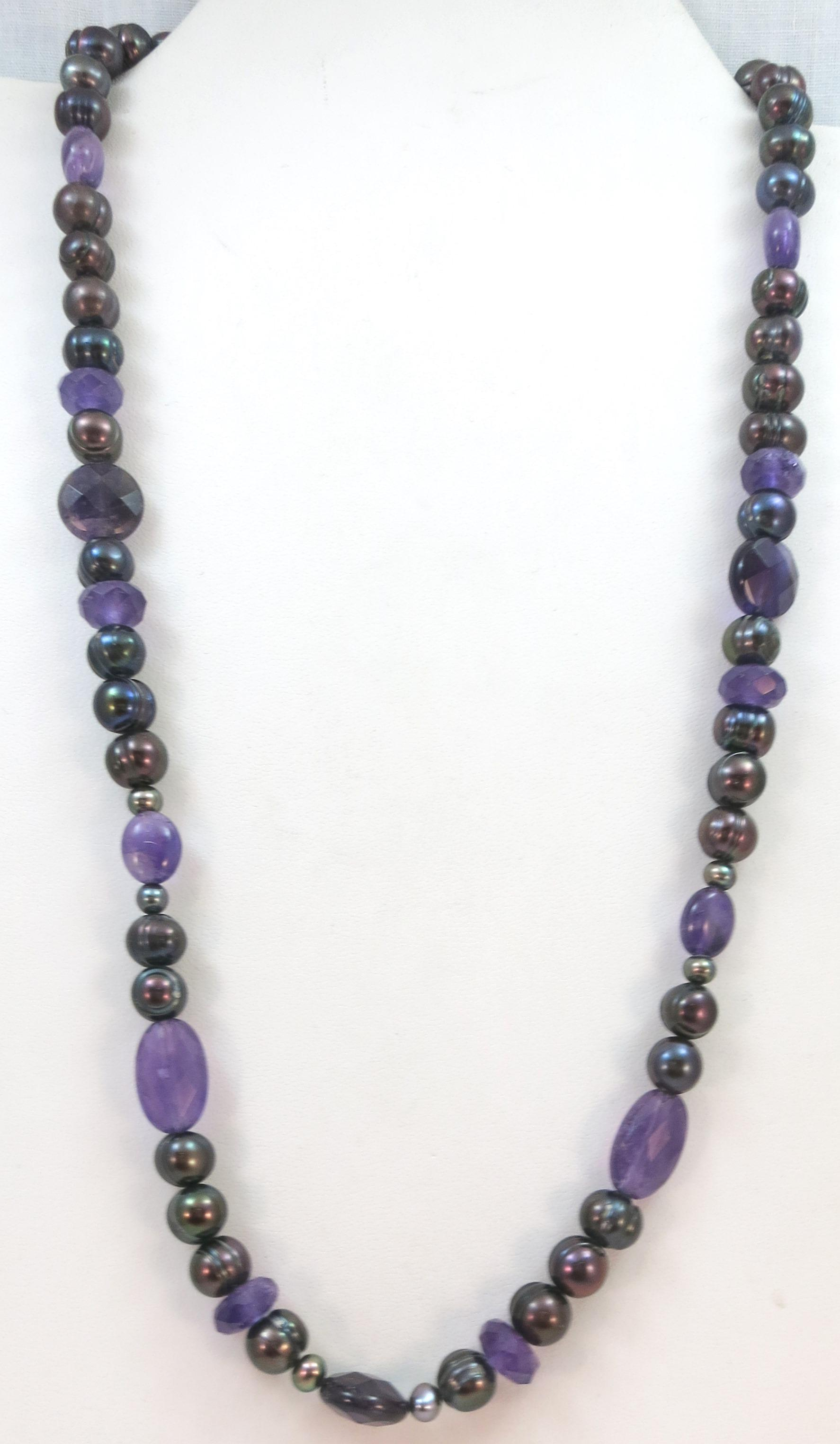 VINTAGE Pearl and Raw Amethyst Bead Necklace  Professionally Restrung