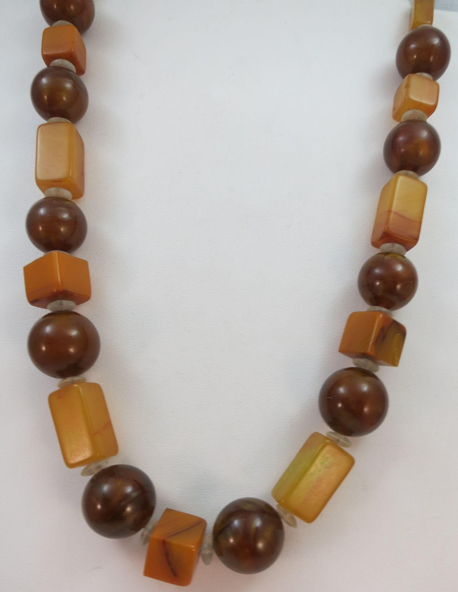 VINTAGE Necklace with Bakelite Squares  Professional restrung