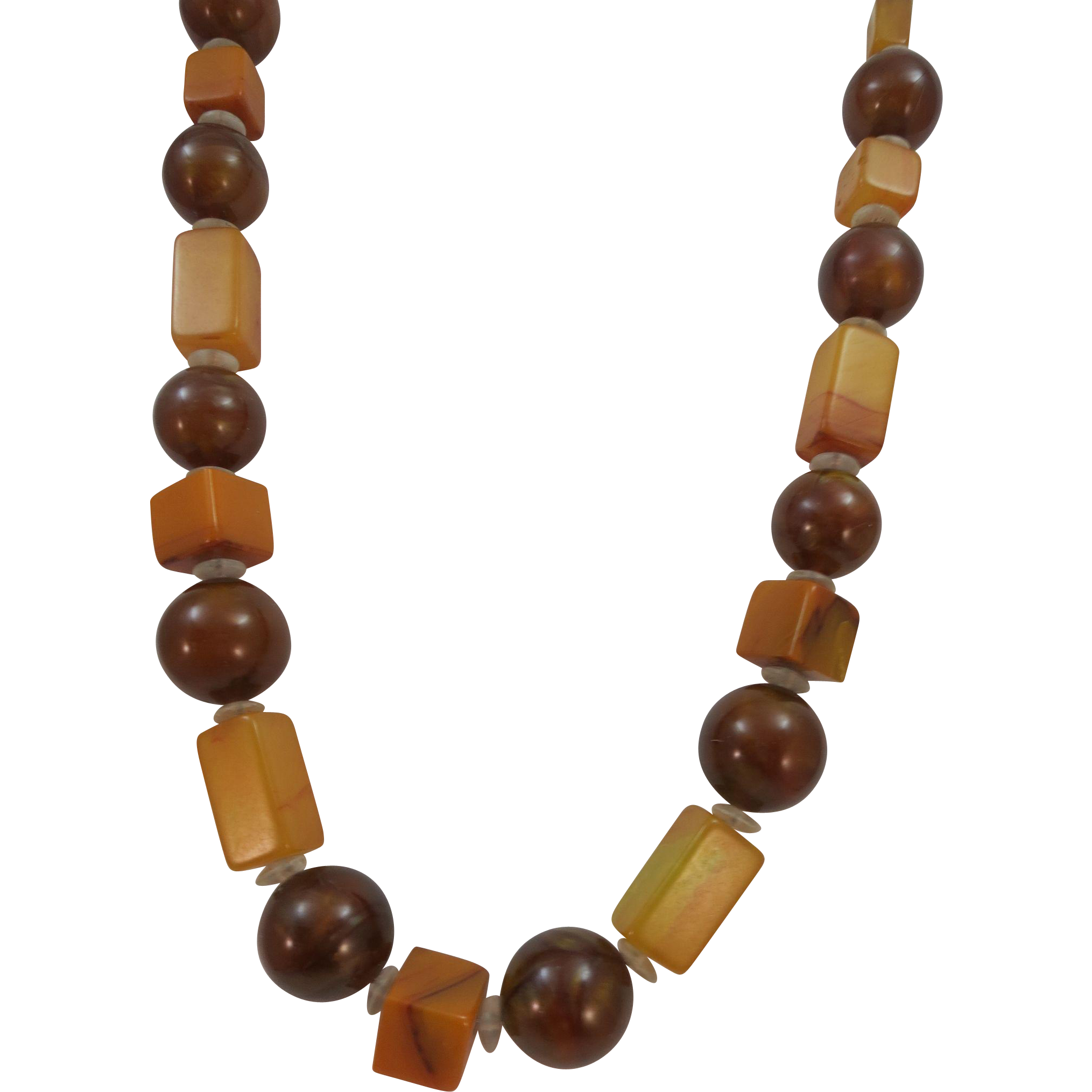 VINTAGE Necklace with Bakelite Squares  Professional restrung
