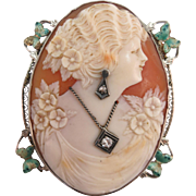VINTAGE 1920'S 14K Habille 2 Diamonds  Cameo Brooch Green Butterflies