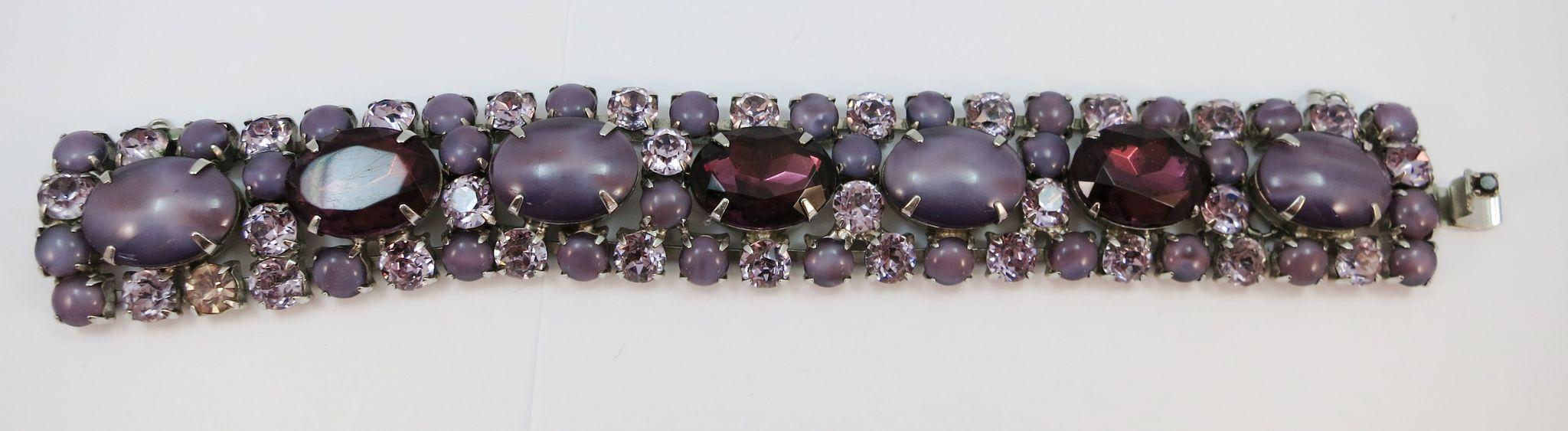 VINTAGE 70's  Purplish Rhinestone Bracelet   7 Inch