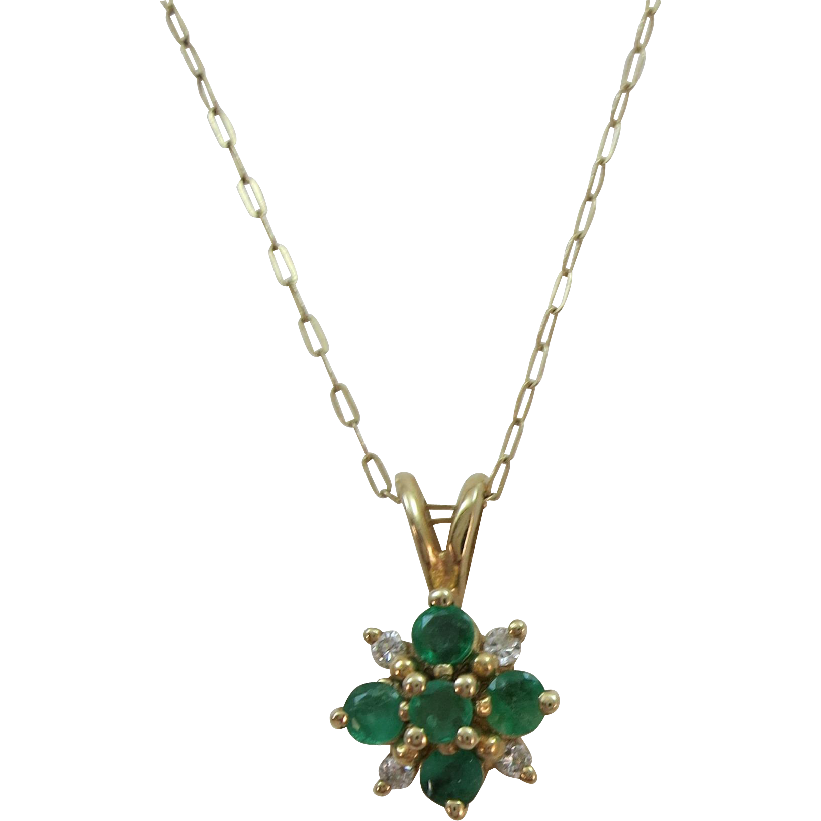 VINTAGE 14K  Chain and 14K Emerald and Diamond Pendant  Chain 19 inches