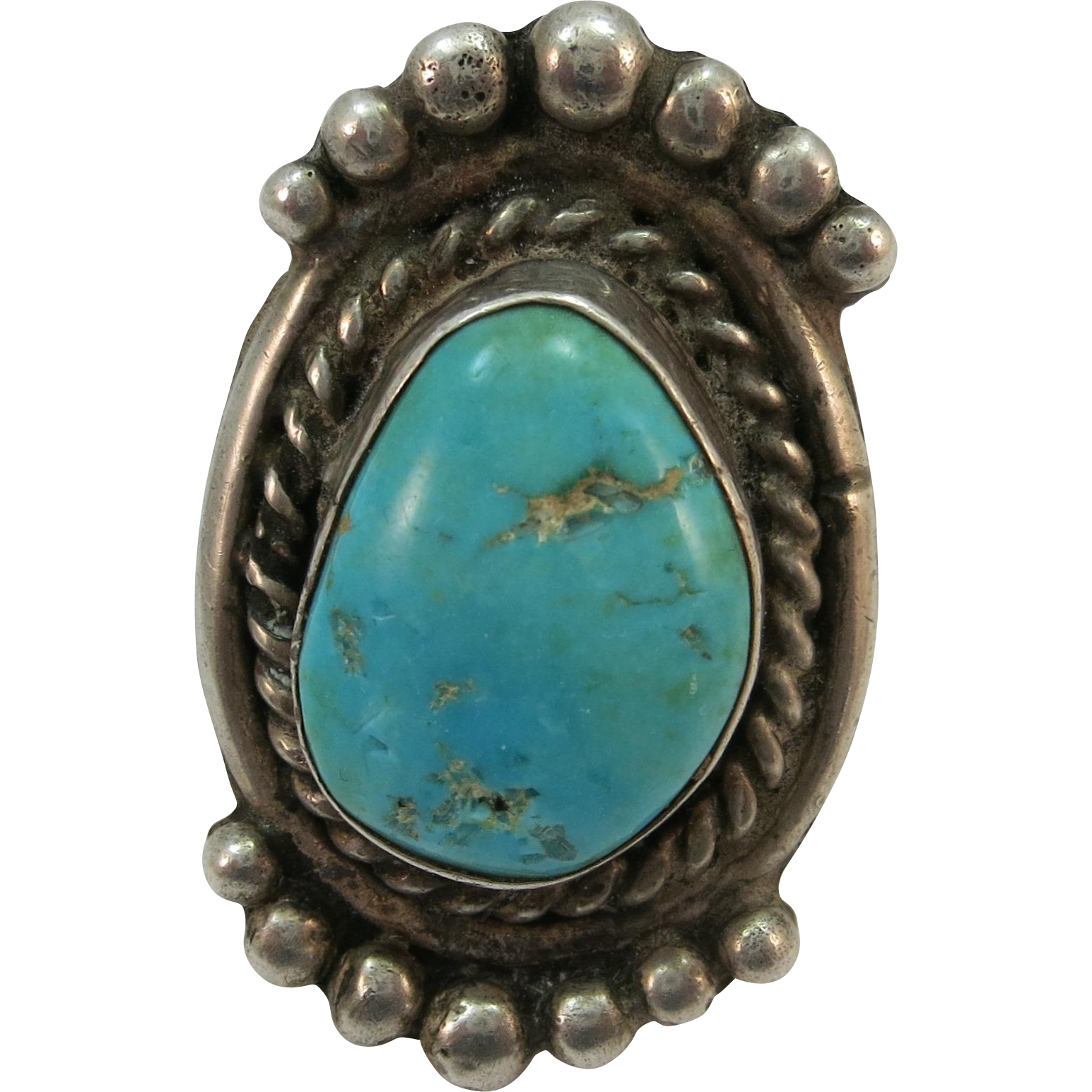 Turquoise Ring  1 1/2 Inch face.  Much better than it looks