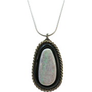 VINTAGE Sterling Onyx and Opal Pendant with 22 Inch Sterling Snake Chain