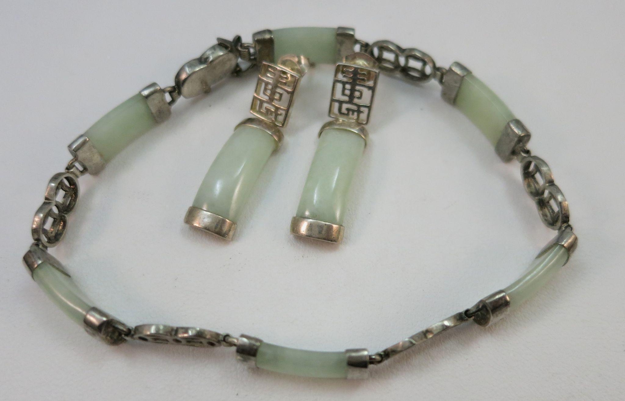 VINTAGE Light Green Jade Bracelet and Earrings in Sterling