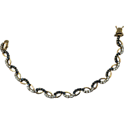 VINTAGE Sterling with Gold Overlay Sapphire like sets and Crystal set  Beautiful Bracelet 7 Inches