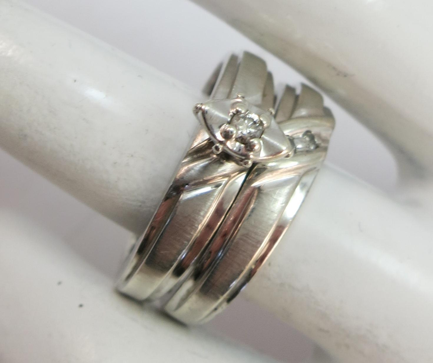 VINTAGE Sterling With Diamonds  Wedding Set  Size  6 3/4