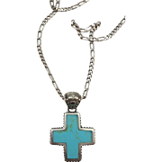 VINTAGE Turquoise and Mother of Pearl  Cross Nice and Heavy Sterling Chain  16 inches