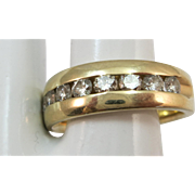 VINTAGE 14k Yellow Gold Anniversary Diamond Band  Size 7 3/4