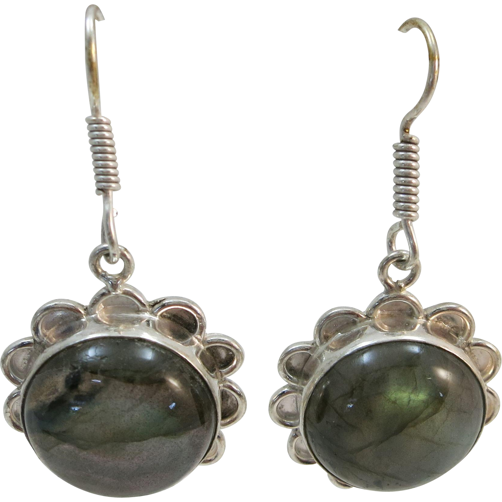 VINTAGE Sterling Fish-hook Labradorite Earring Beautiful