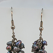 VINTAGE Fresh Water Pearls Dangle Earrings 2 inch length