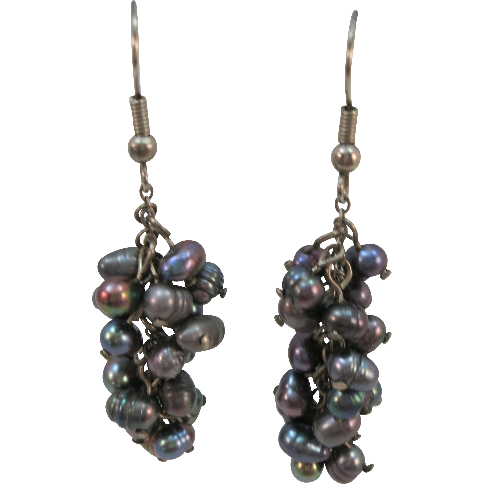 VINTAGE Fresh Water Pearls Dangle Earrings 2 inch length