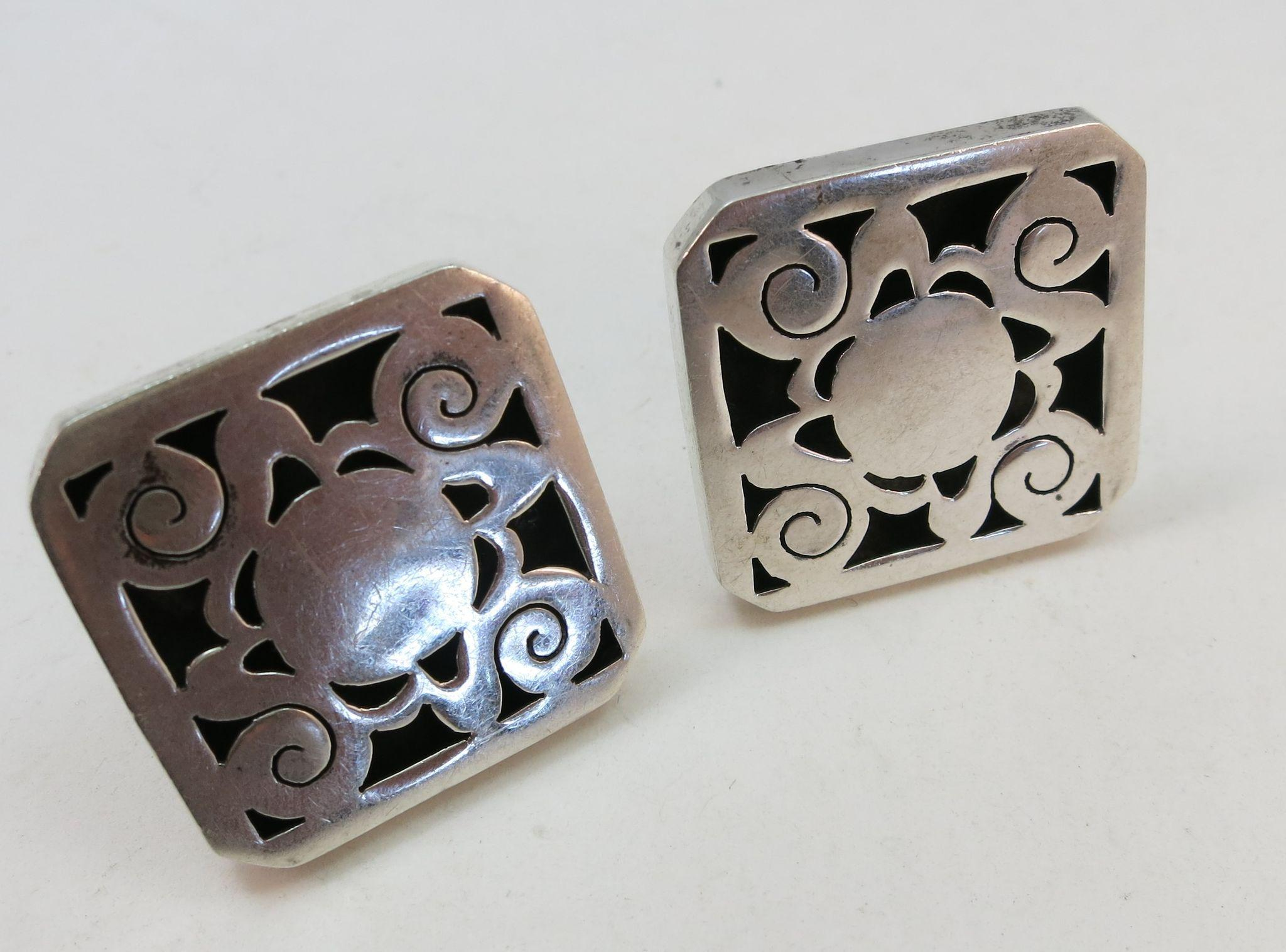 VINTAGE Mexican Sterling Large Hand-made Cuff Links Unisex  Marked Espinosa