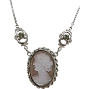 VINTAGE Sterling Mother Of Pearl Cameo Necklace  60's