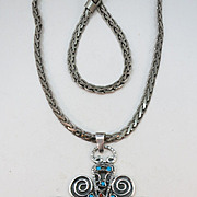 VINTAGE Huge Mexican Silver Cross and Chain  80's