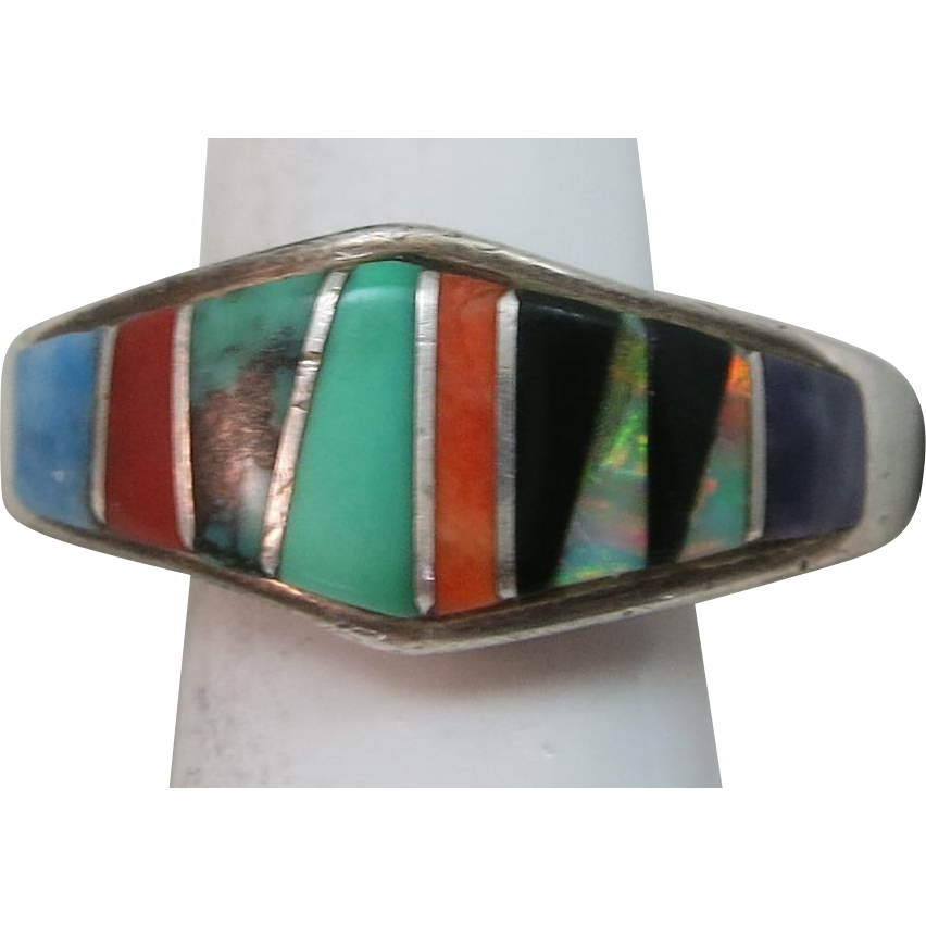 VINTAGE Zuni Inlaid Wedding Band Size 7 1/4