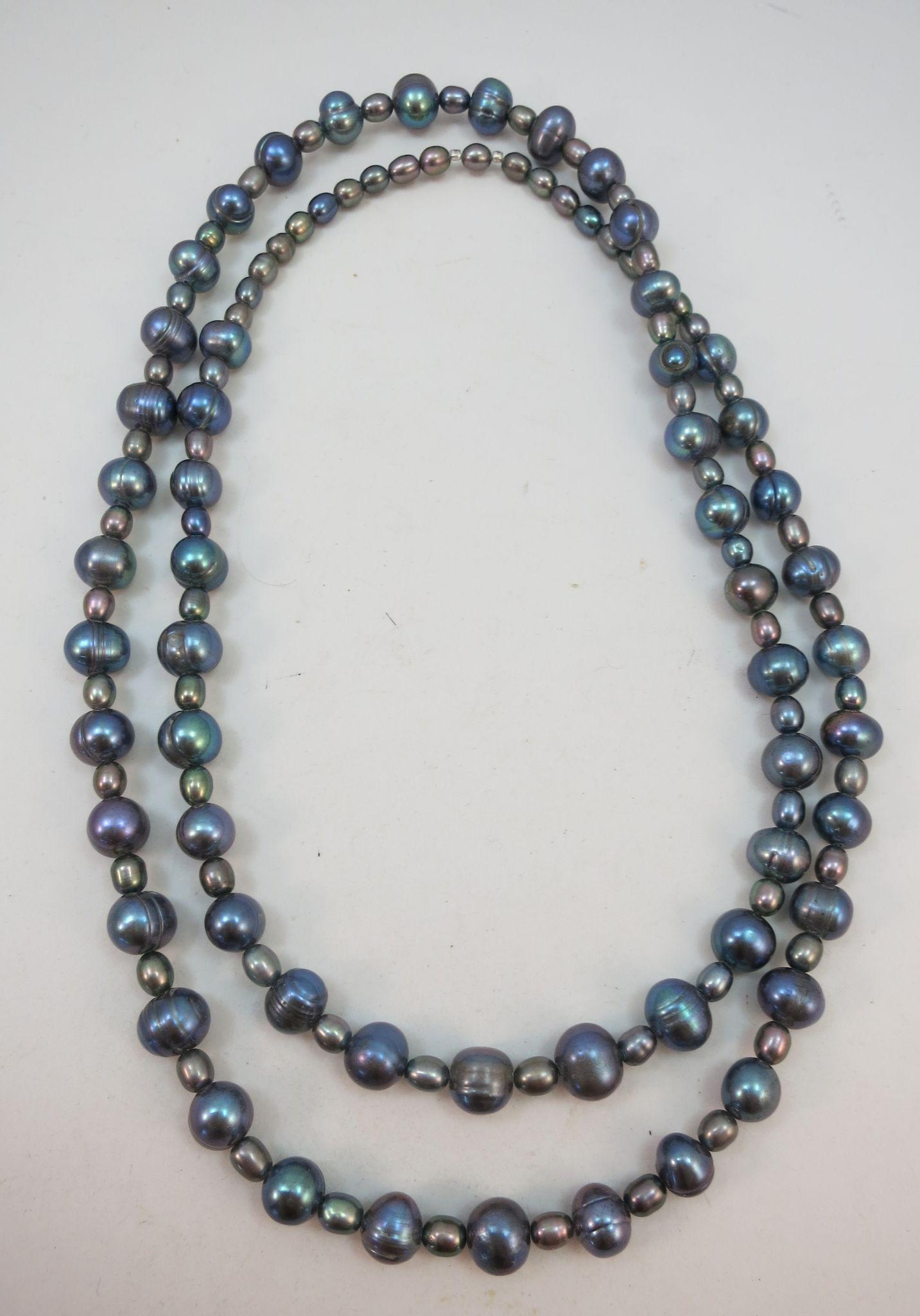 VINTAGE Endless String of Fresh-Water Pearls  Purplish  28 Inches