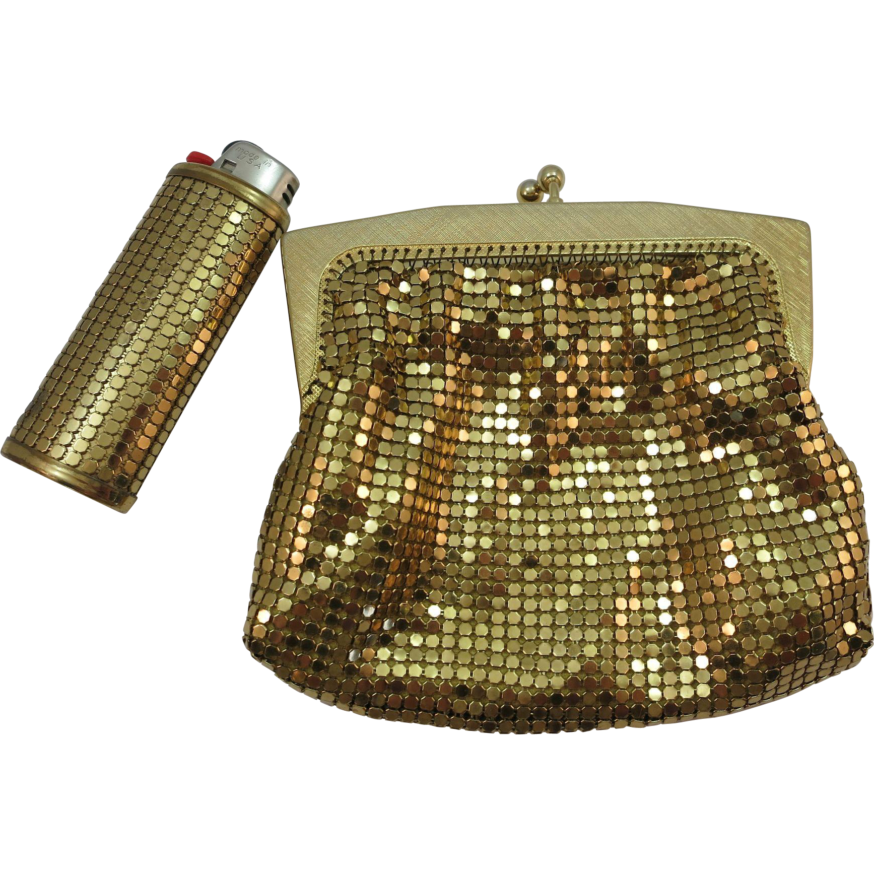 VINTAGE Australia Made Glomesh Purse with Whiting and Davis Lighter Gold Mesh Purse